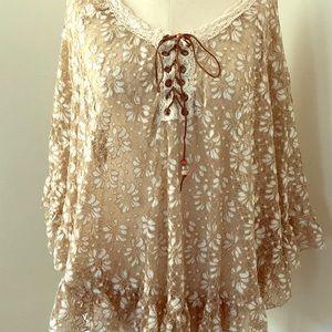Tops - Tan sheer embroidered top!  Ruffled sleeve n hem💕